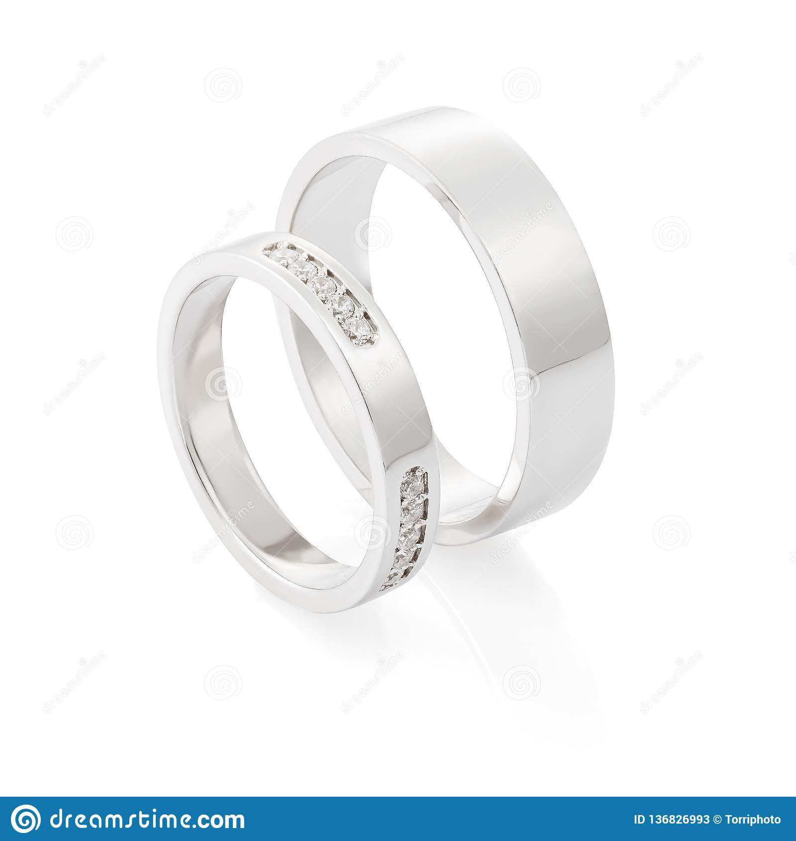 grande remise fabrication habile Royaume-Uni disponibilité Paires D'anneaux De Mariage D'or Blanc Avec Des Diamants D ...