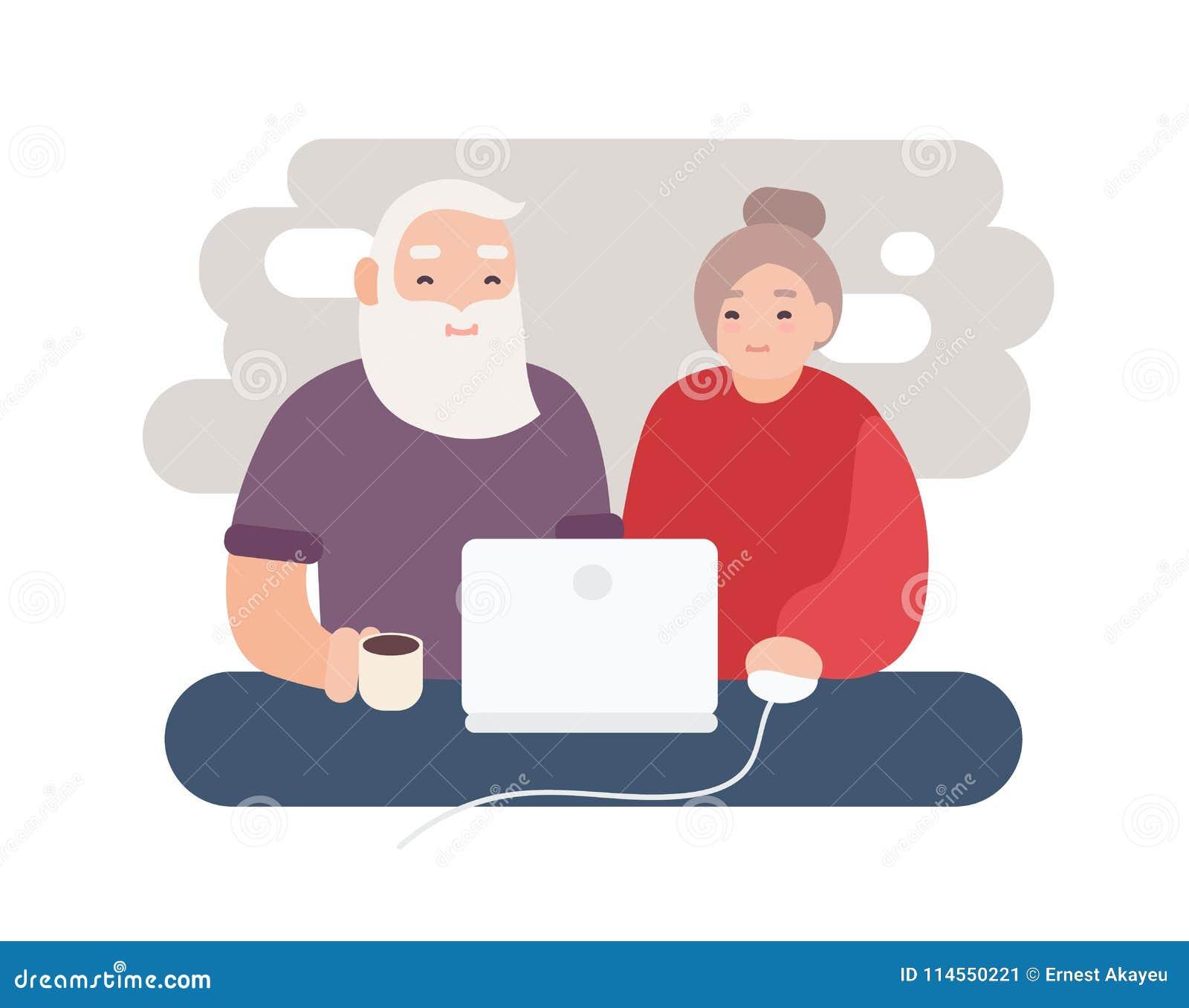Paires d Internet surfant plus âgé de sourire d homme et de femme ensemble Vidéo de observation de vieux couples heureux sur l or