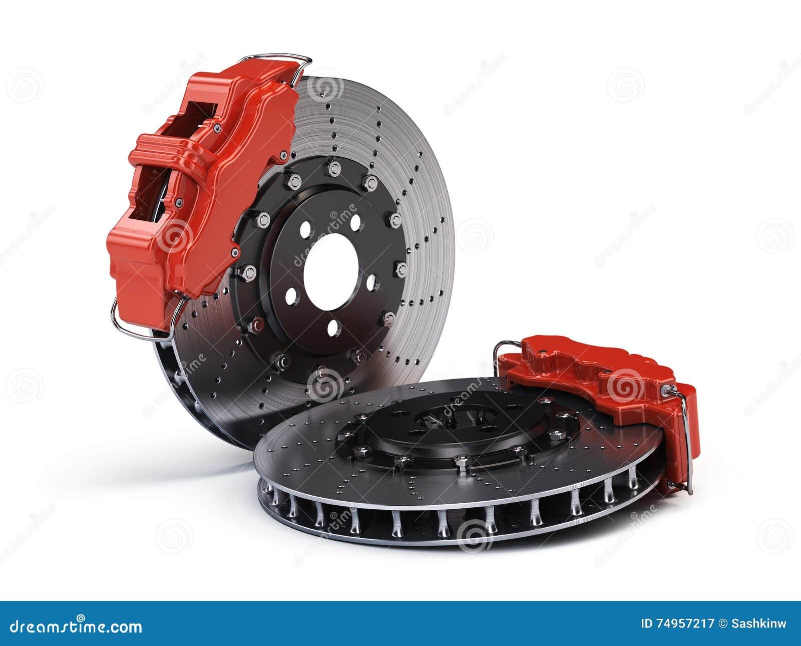paires de disques de frein avec des calibres de emballage de sport rouge sur le blanc. Black Bedroom Furniture Sets. Home Design Ideas