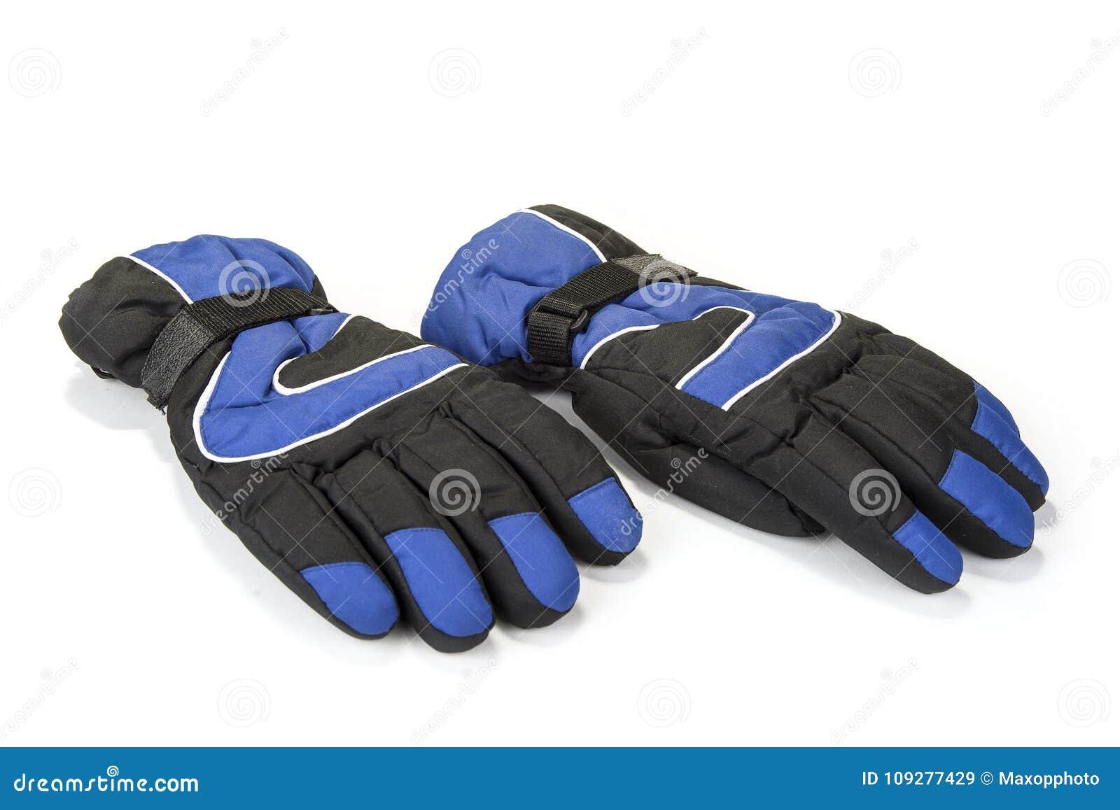 Paires de gants chauds d hiver sur le blanc