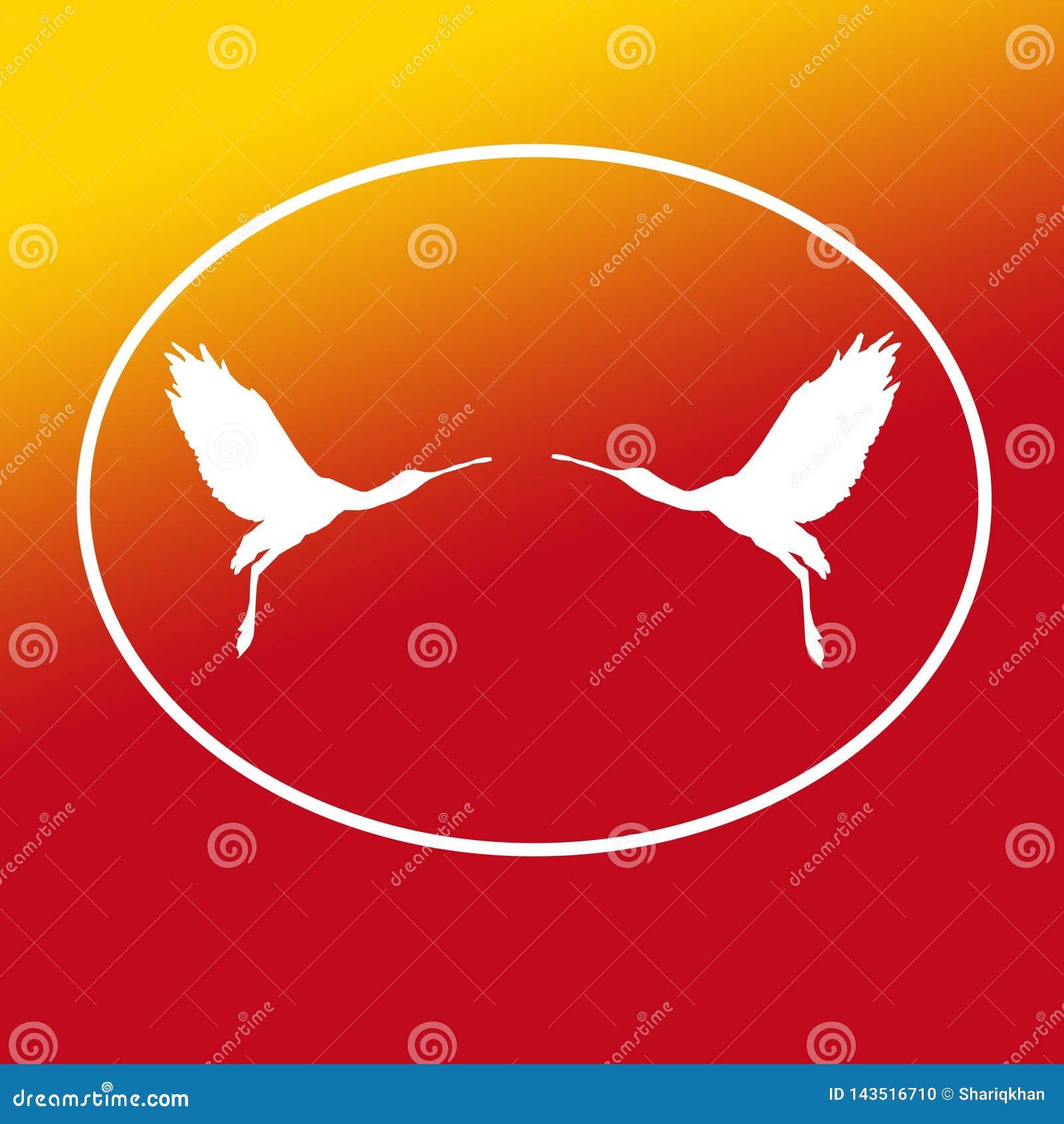 Paires de spatule de Logo Banner Image Flying Bird dans la forme ovale sur le fond jaune-orange