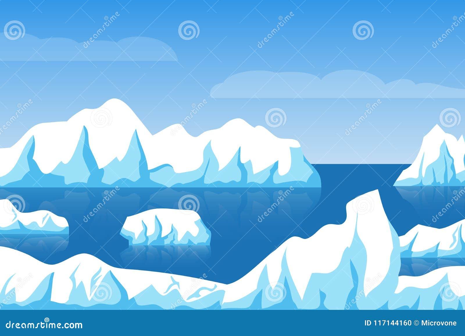 Paisagem ártica do inverno dos desenhos animados ou antártica polar do gelo com o iceberg na ilustração do vetor do mar