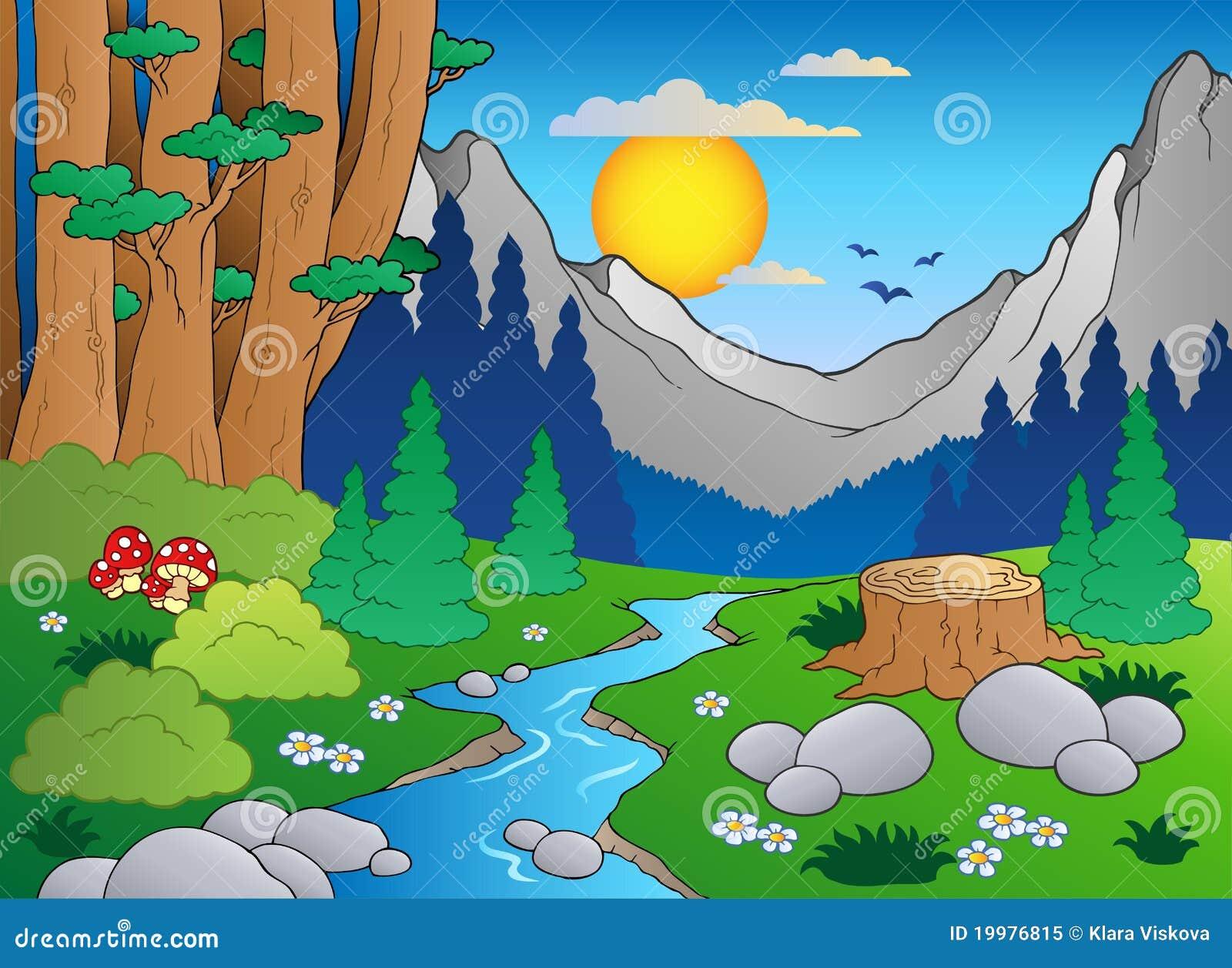Paisagem 2 Da Floresta Dos Desenhos Animados Ilustracao Do Vetor