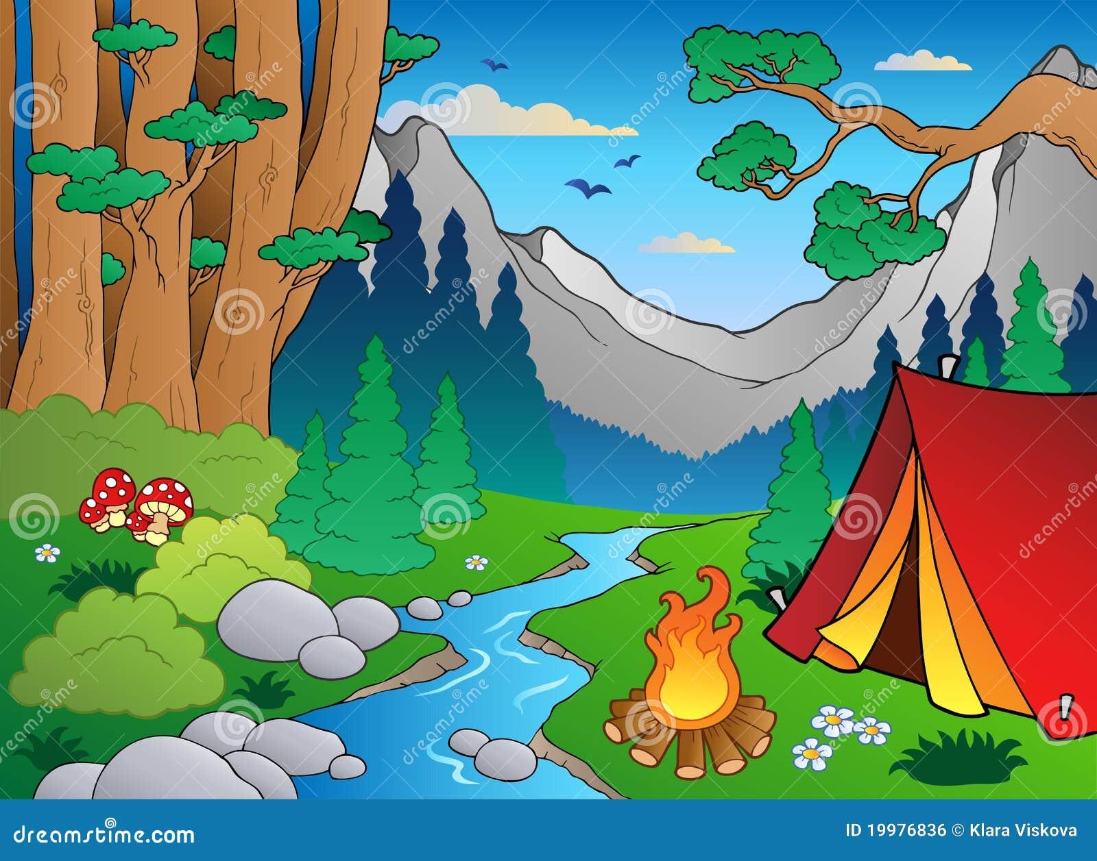 Paisagem 4 da floresta dos desenhos animados