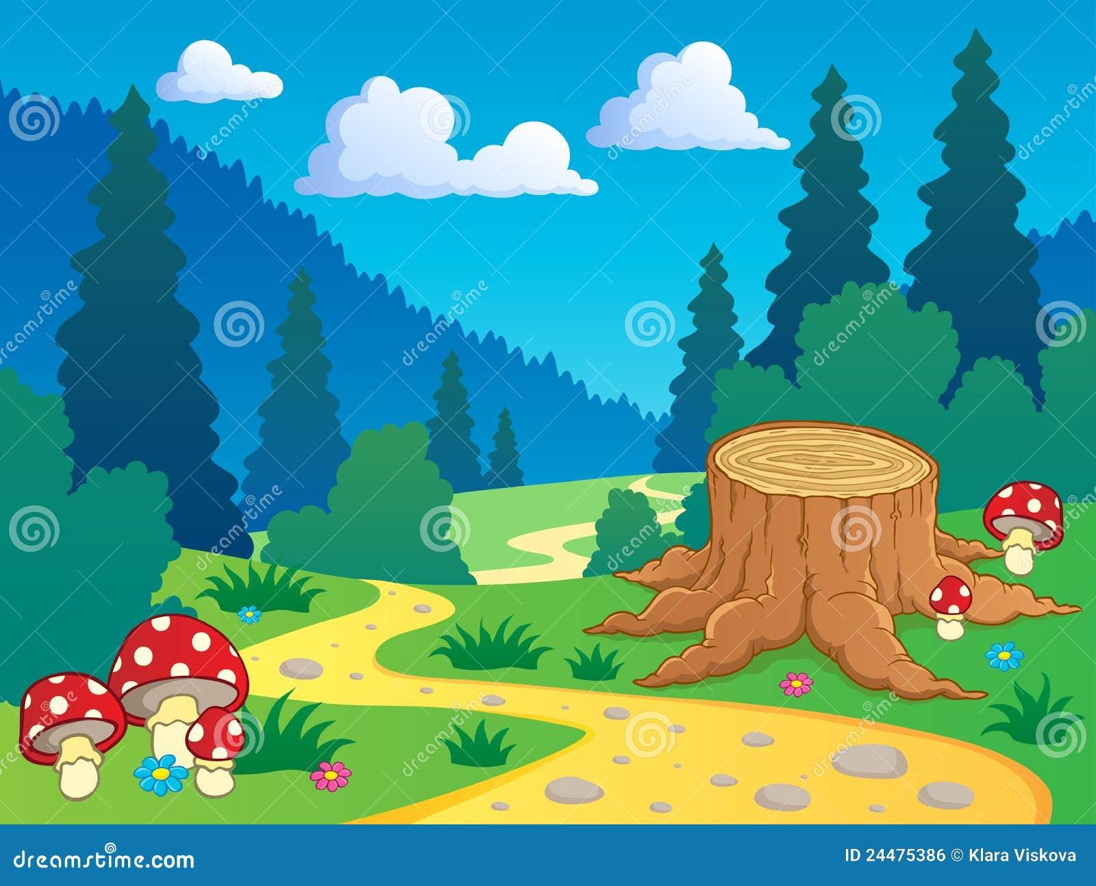 Paisagem 7 Da Floresta Dos Desenhos Animados Ilustracao Do Vetor
