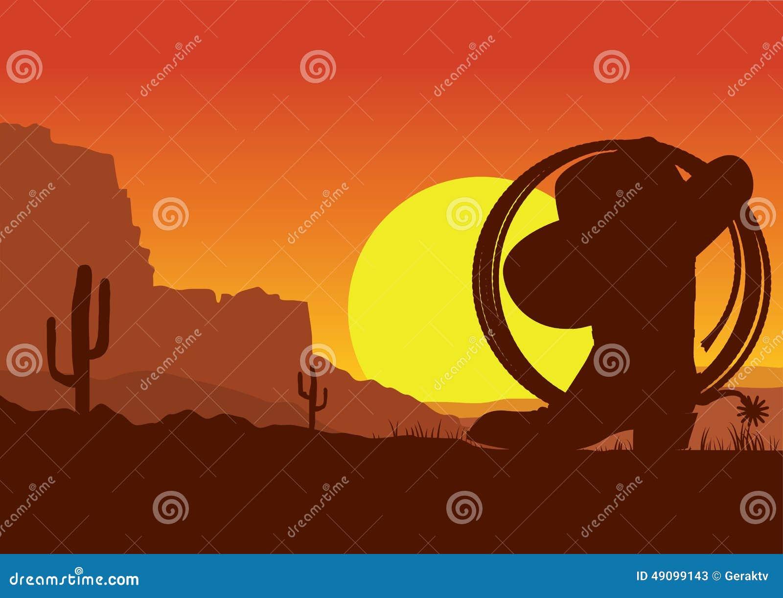 Paisagem americana ocidental selvagem do deserto com bota e laço de vaqueiro