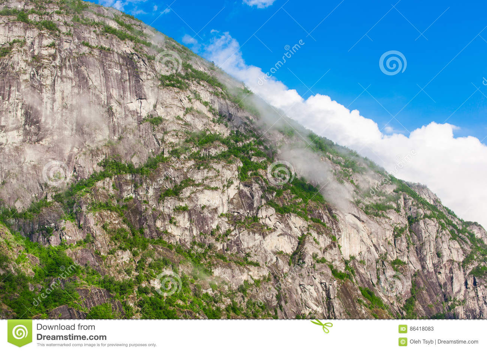 A paisagem bonita de Noruega dirige com telhados verdes e, terreno montanhoso e reservatórios