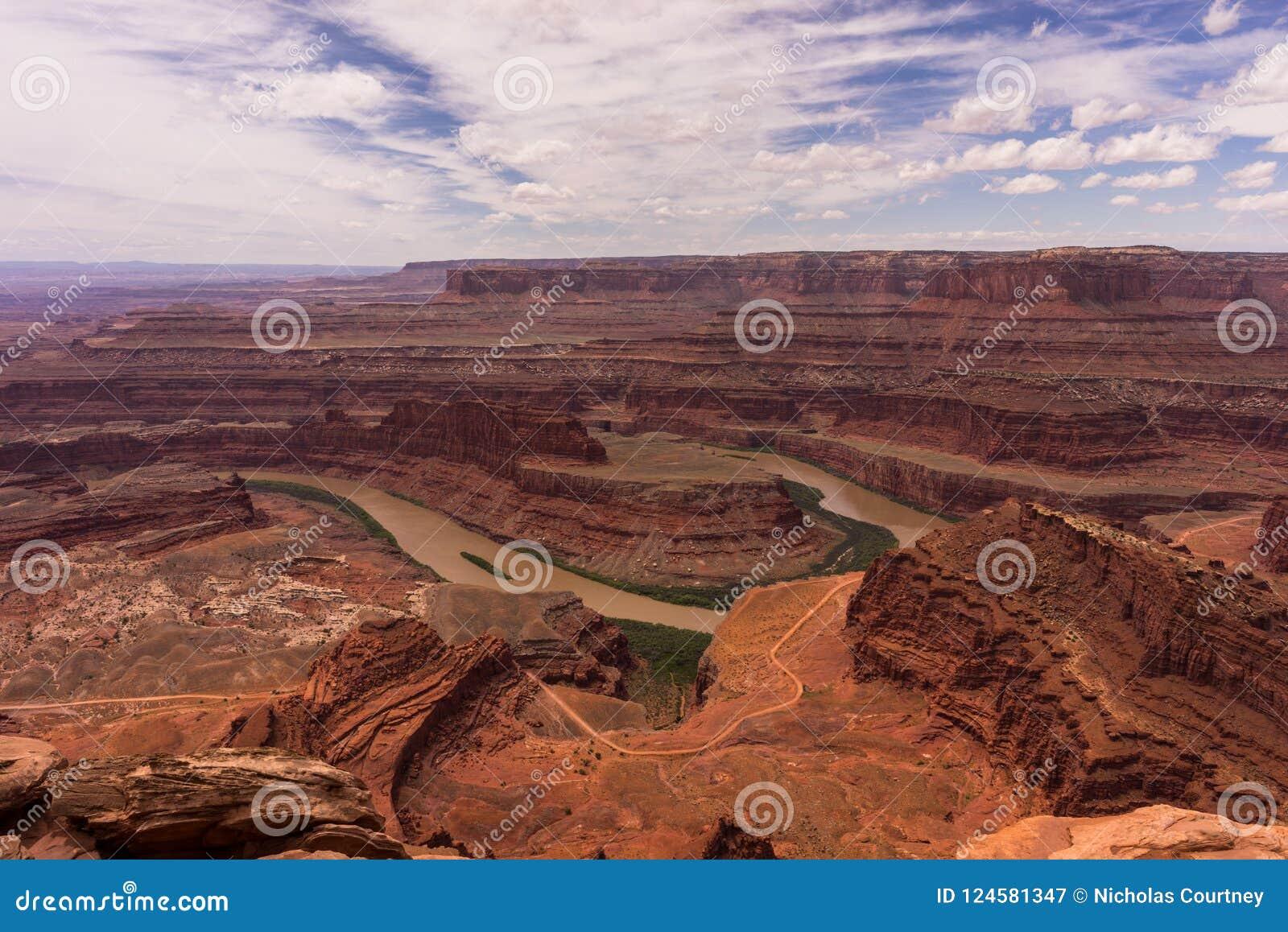 A paisagem bonita do deserto de Moab, Utá Parque de estado do ponto do cavalo inoperante