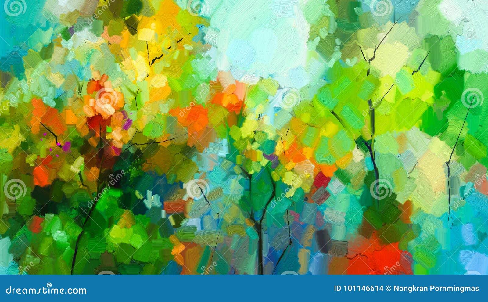 Paisagem colorida abstrata da pintura a óleo na lona