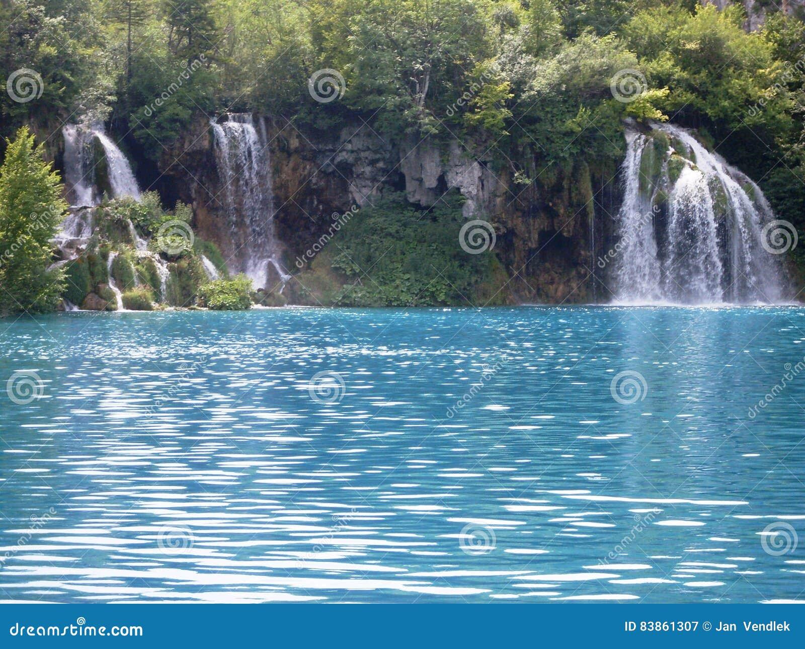 Paisagem colorida e vibrante da costa do lago Paisagem tranquilo útil como o fundo Abaixe a garganta dos lagos Lagos Plitvice nac