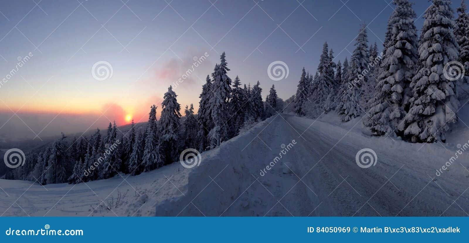 Paisagem colorida no nascer do sol do inverno na floresta da montanha