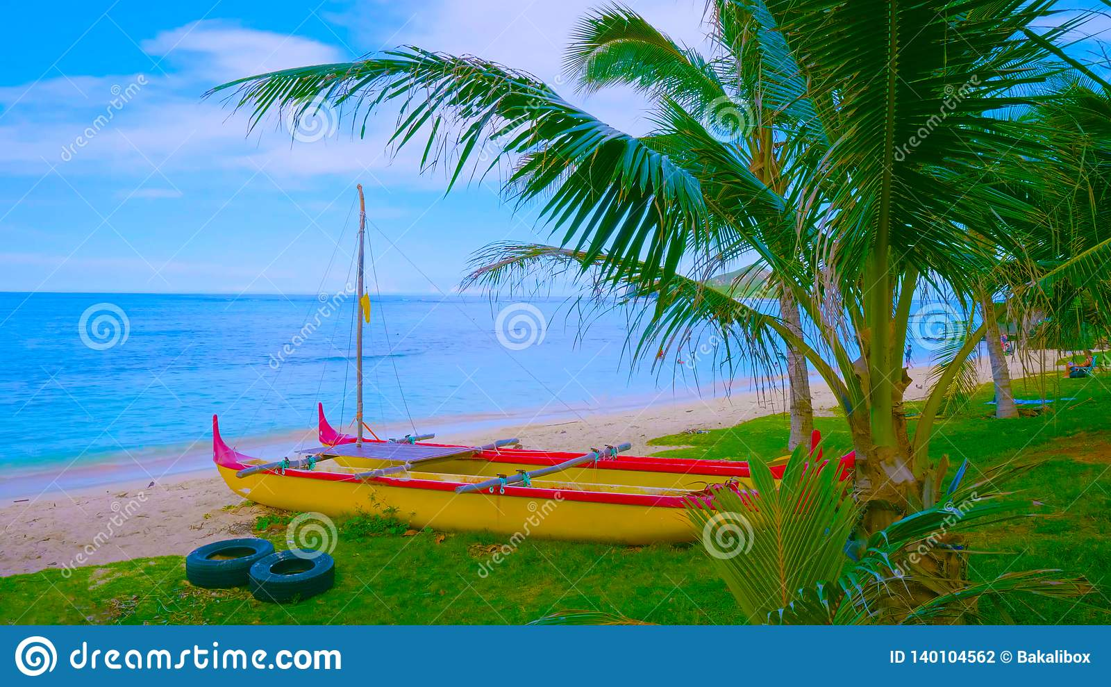Paisagem com lago e árvores    barco na praia 2019