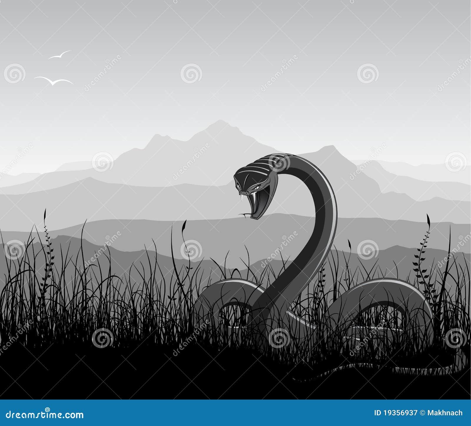 Paisagem com serpente irritada