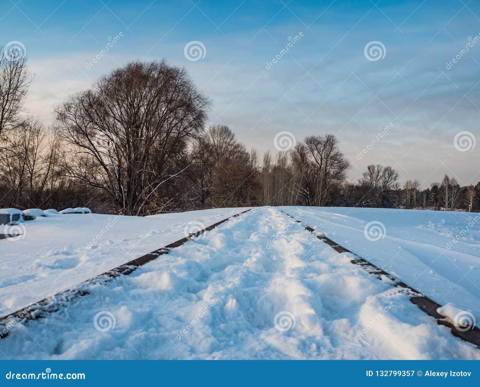 Paisagem com trilhos da estrada de ferro, Novosibirsk do inverno, Rússia