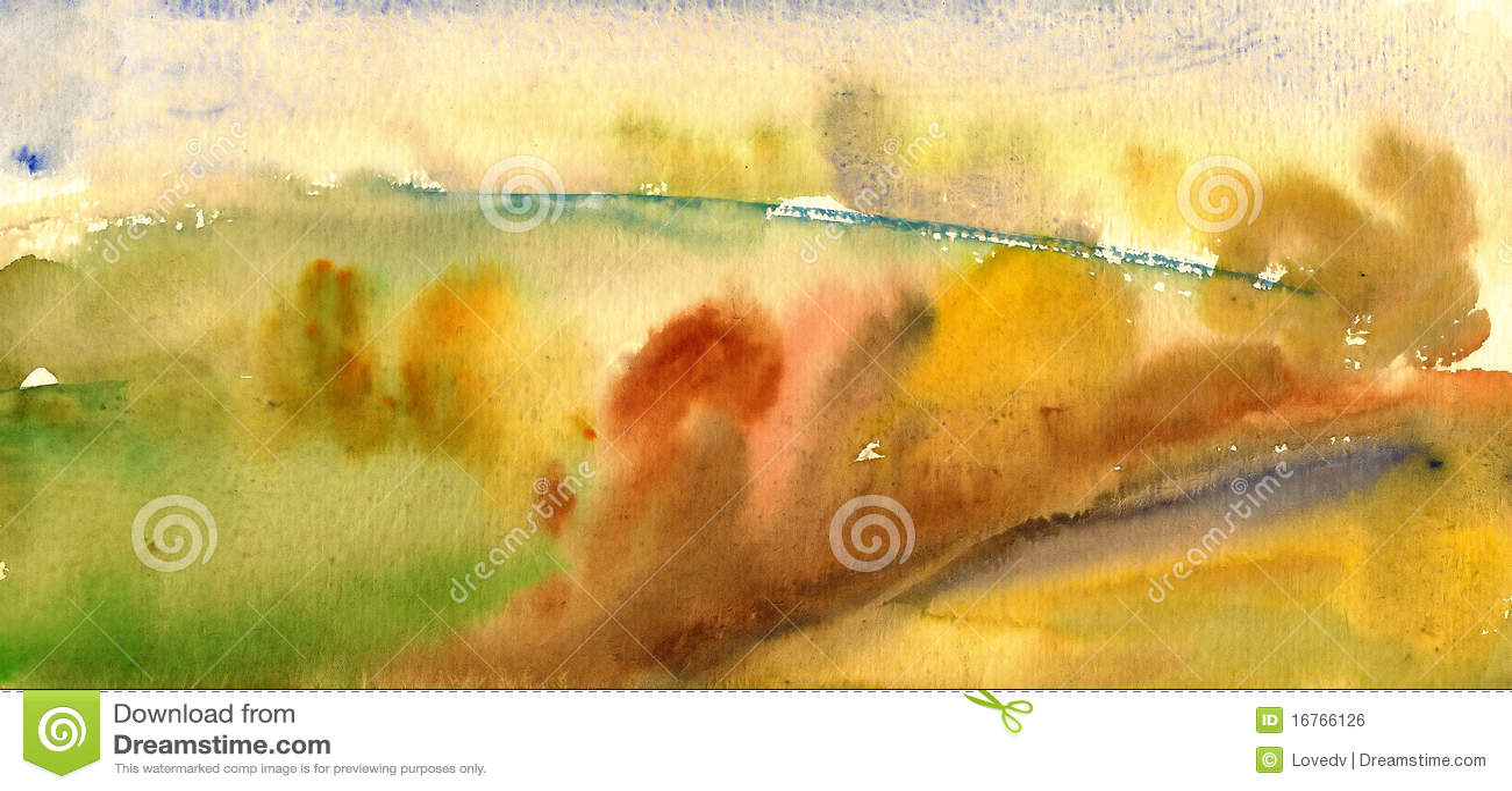 Paisagem da aguarela do outono