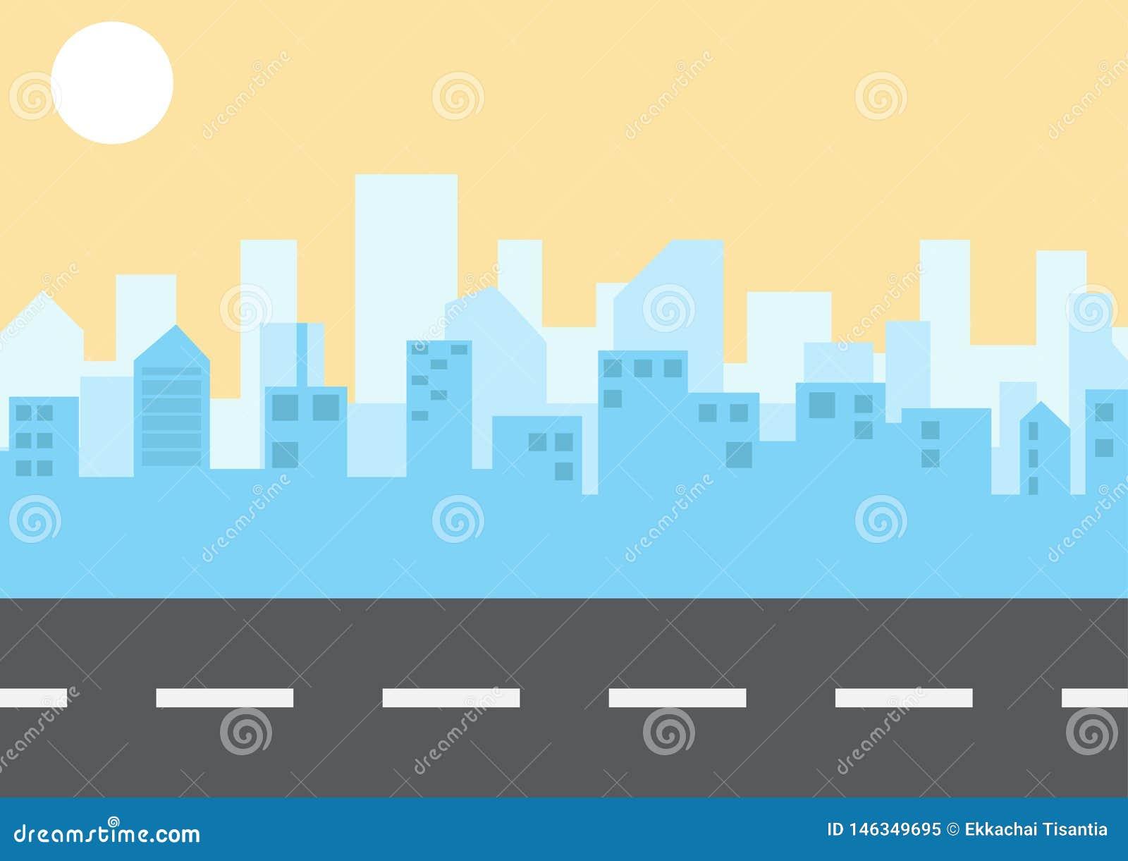 Paisagem da cidade no estilo liso Ilustra??o Vetor