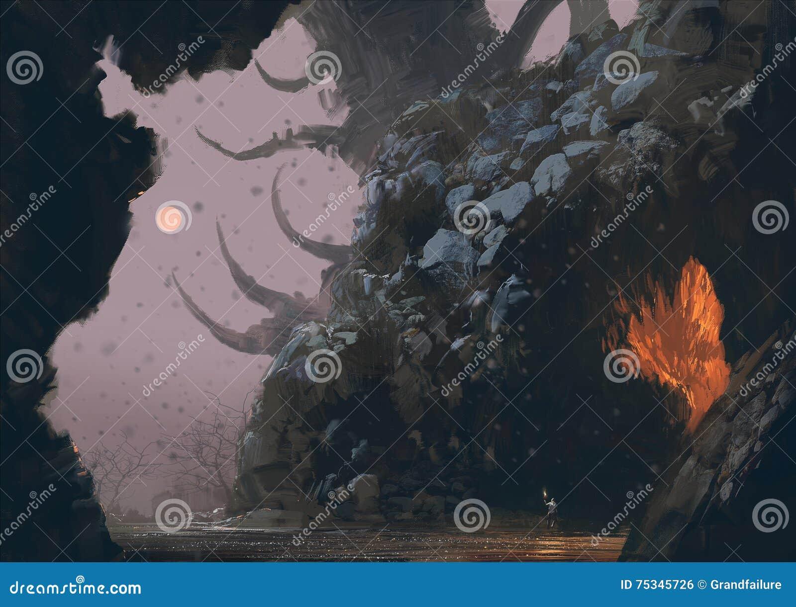 Paisagem da fantasia com caverna do mistério