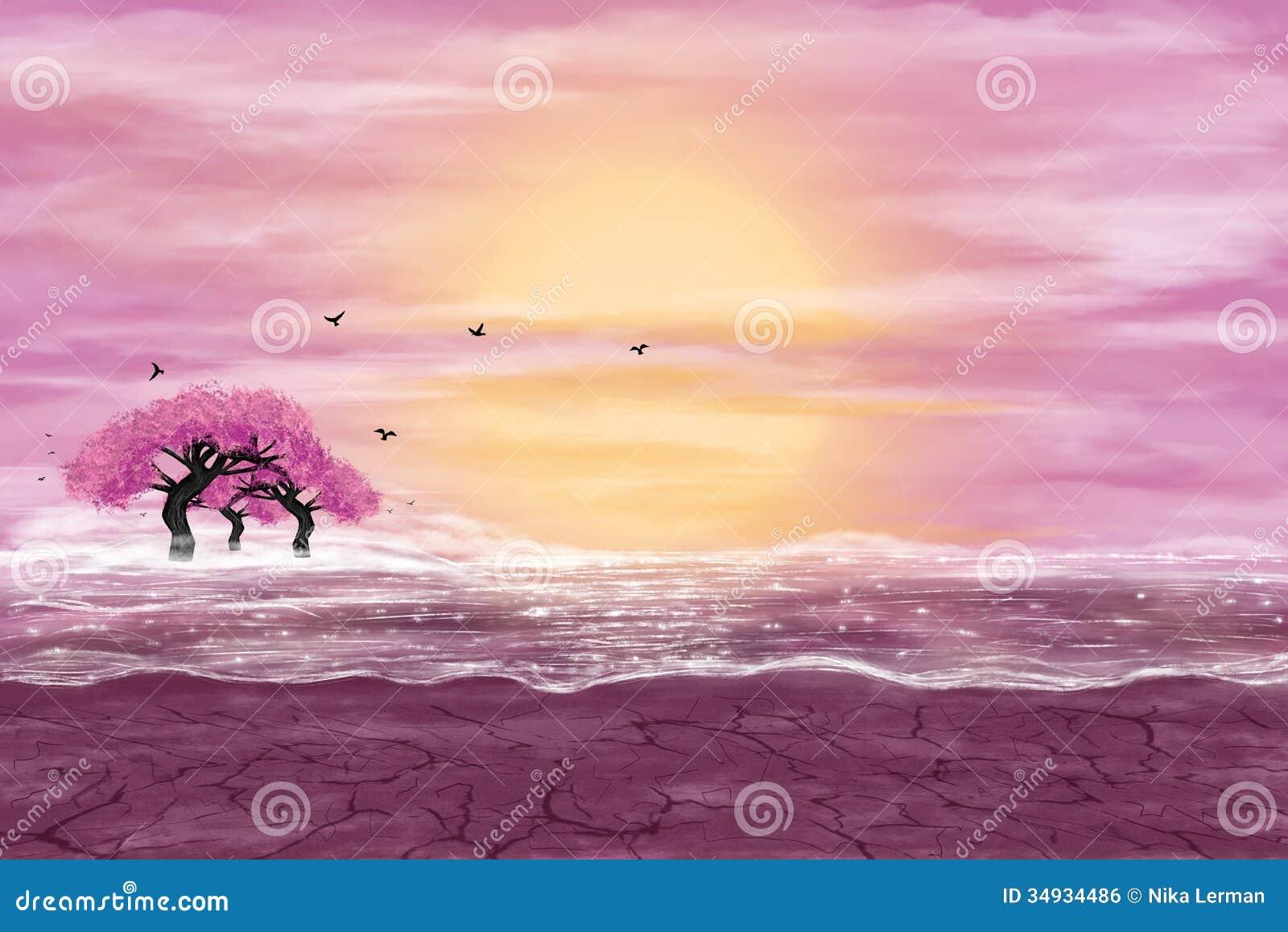 Paisagem da fantasia em cores amarelas e cor-de-rosa