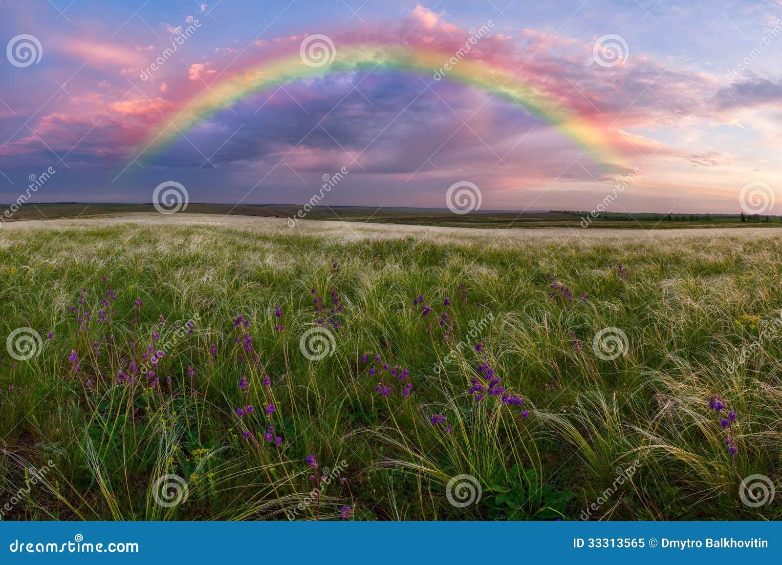 Paisagem da mola com arco-íris