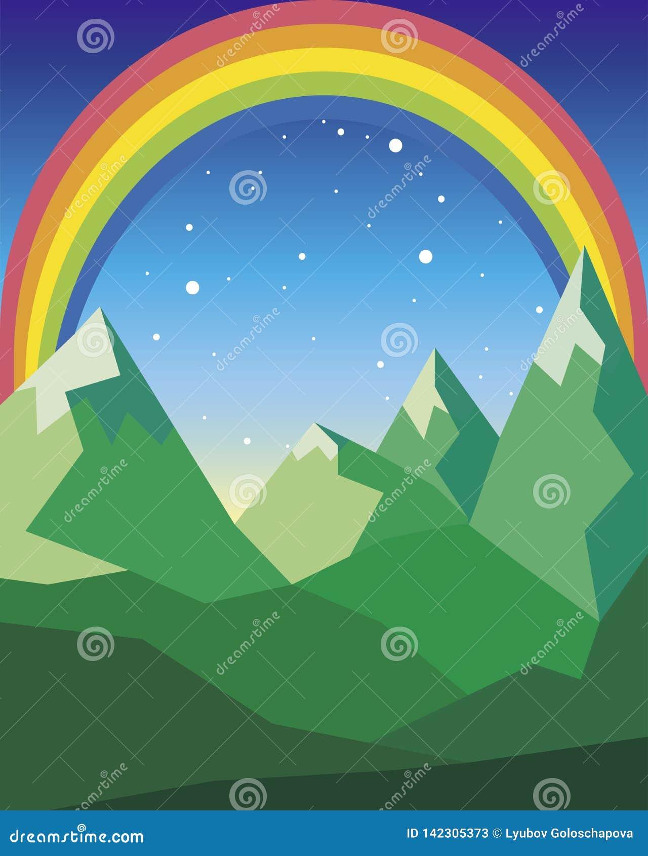 Paisagem da montanha em cores verdes com arco-íris e estrelas