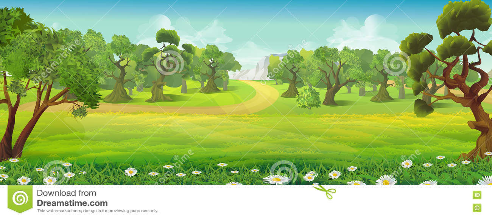 Paisagem da natureza do prado e da floresta