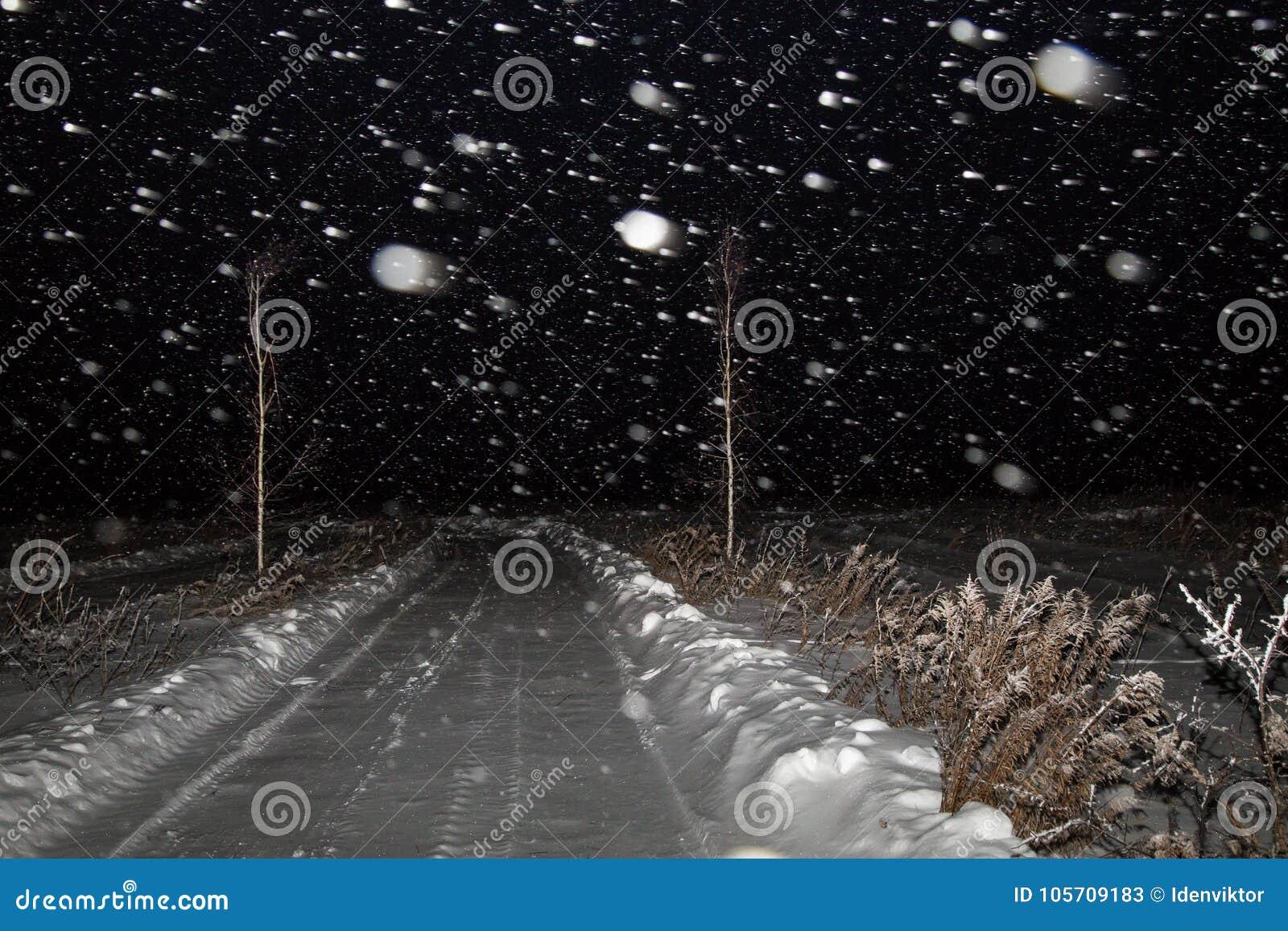 Paisagem da noite do inverno com estrada em um campo na neve A queda de neve, blizzard e o céu escuro