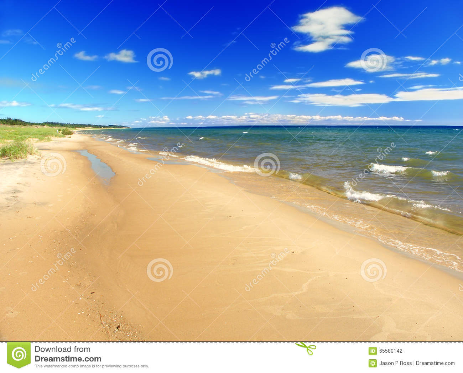 Paisagem da praia do verão do Lago Michigan