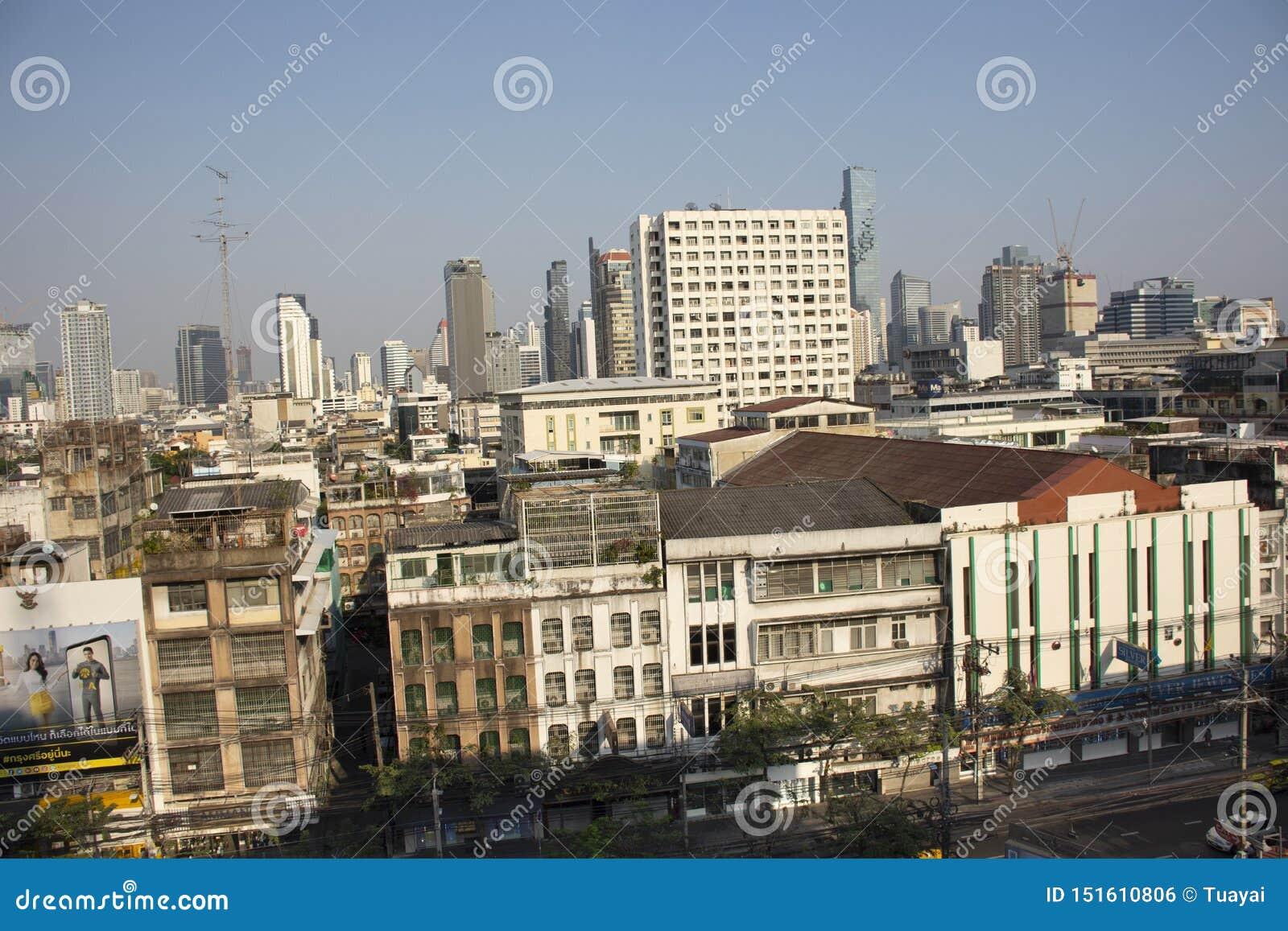 Paisagem da vista aérea e arquitetura da cidade da cidade de Banguecoque da estação de correios geral no distrito de Rak do golpe