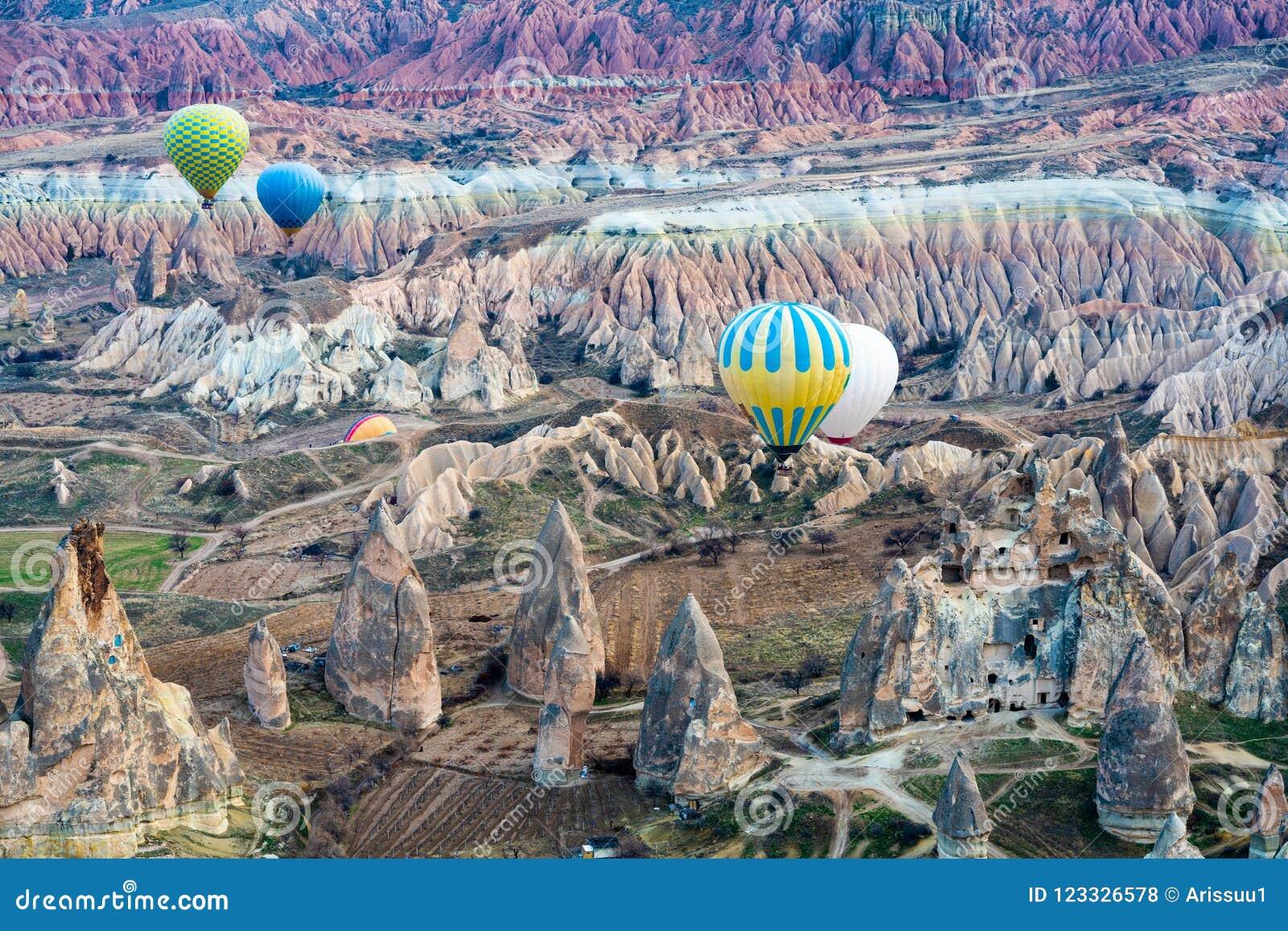 Paisagem de Cappadocia do balão de ar quente