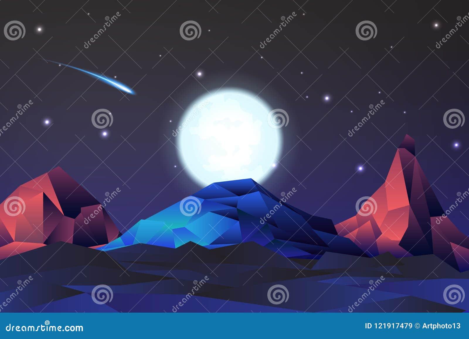 Paisagem de néon da montanha das noites com fullmon, vetor, ilustração