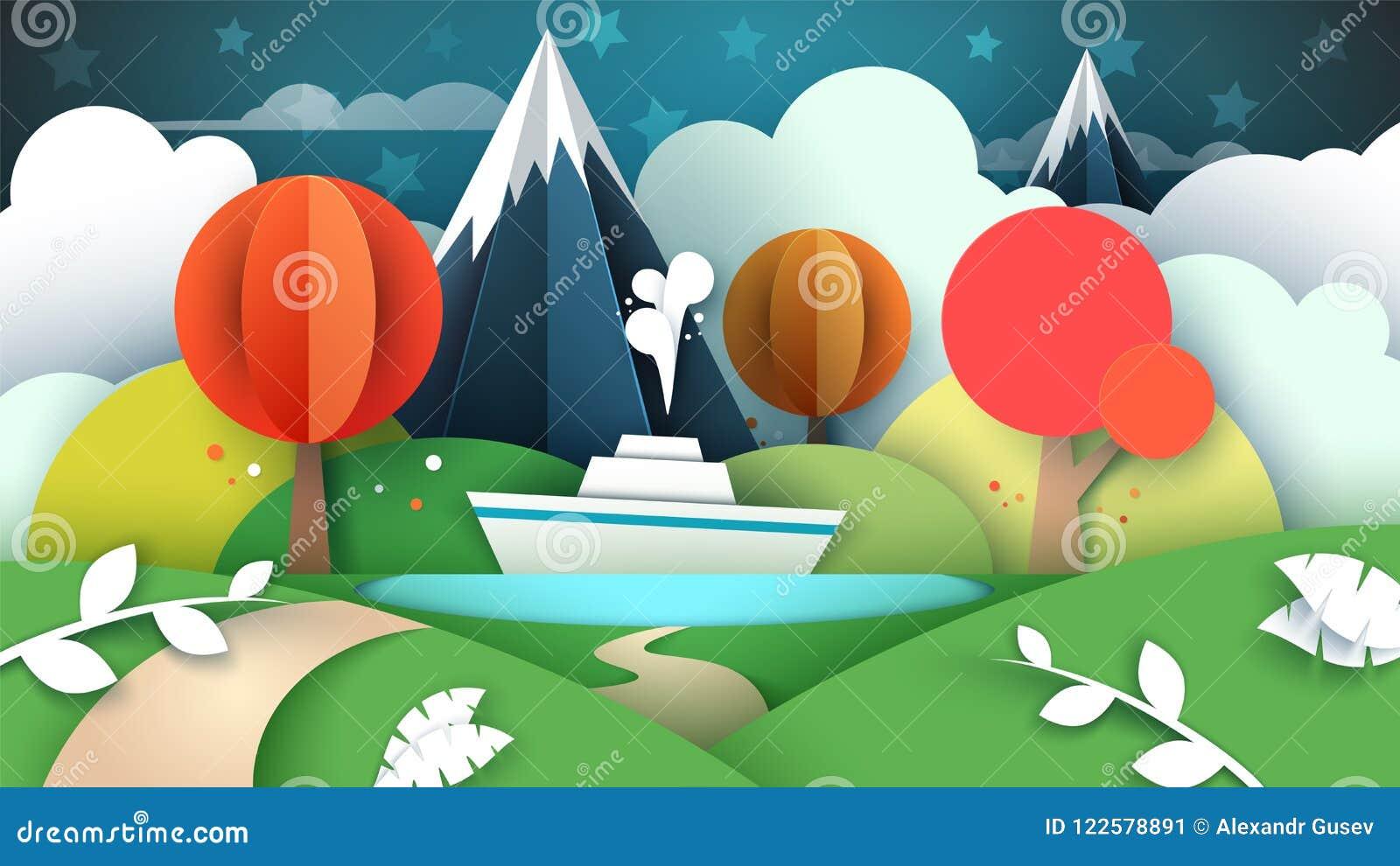 Paisagem de papel dos desenhos animados Lago, navio, montanha