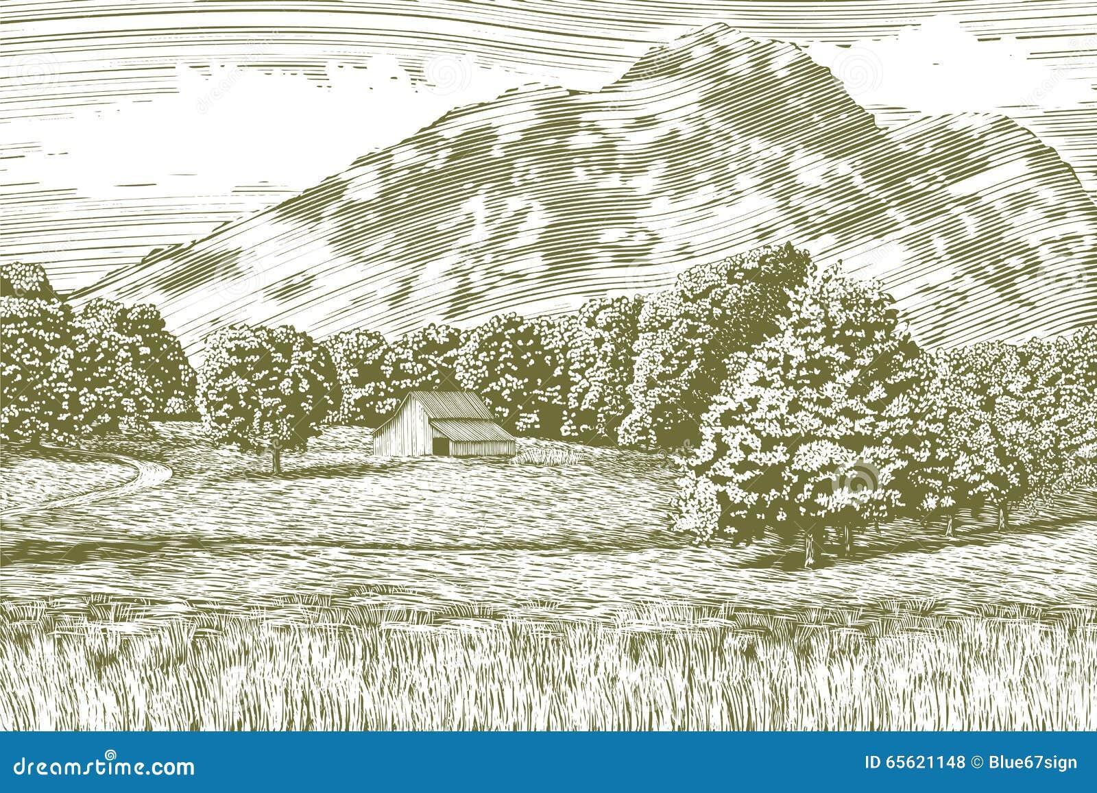 Paisagem do celeiro e da montanha do bloco xilográfico