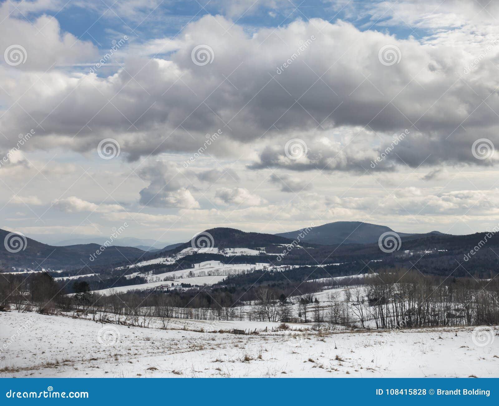 Paisagem do inverno de Peacham Vermont