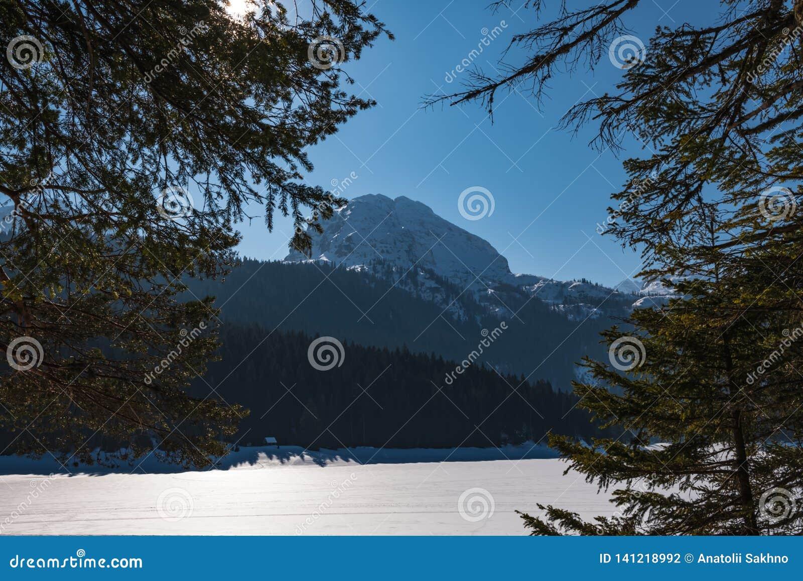 Paisagem do inverno em Montenegro