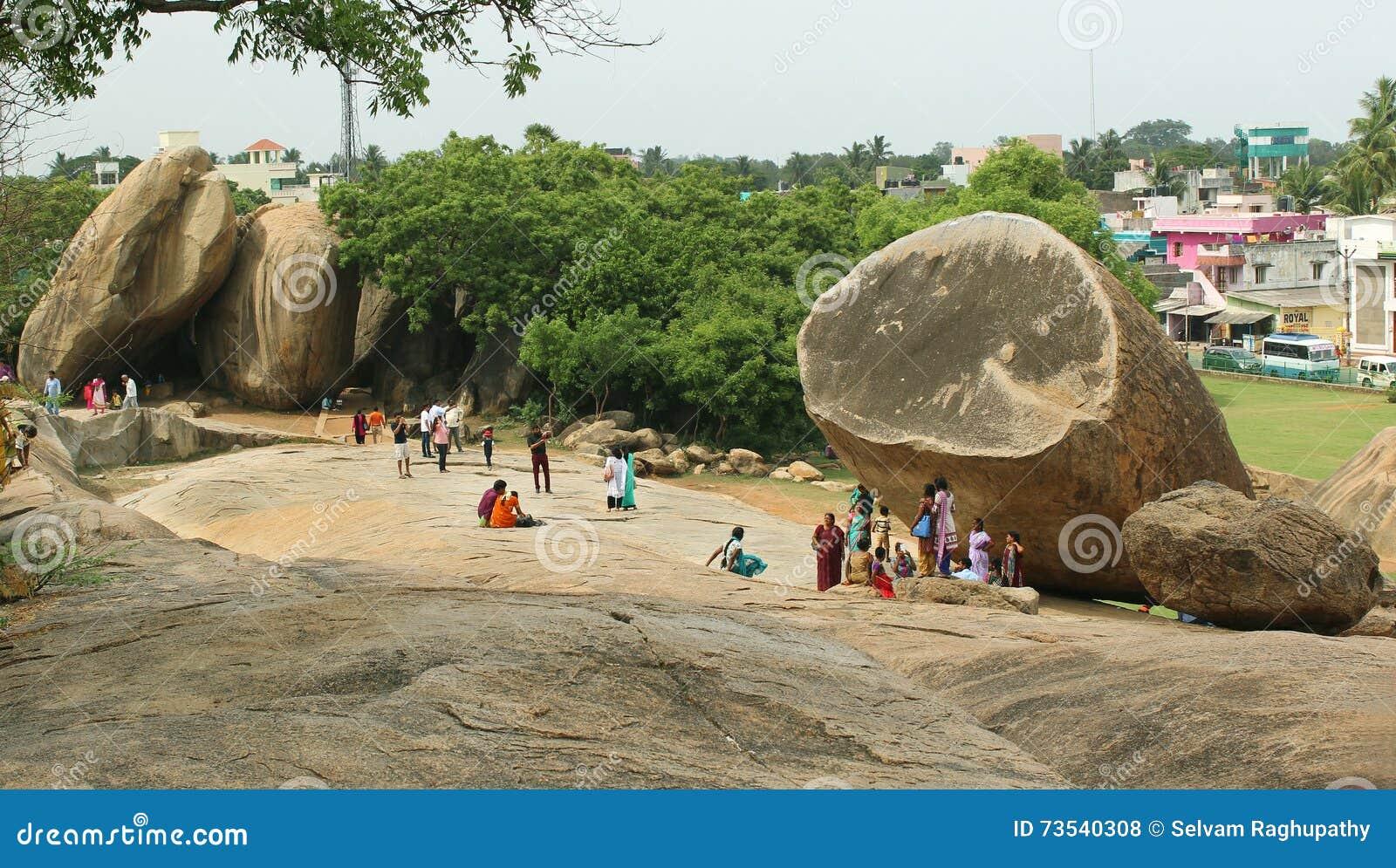 Paisagem do mahabalipuram com krishna' bola da manteiga de s
