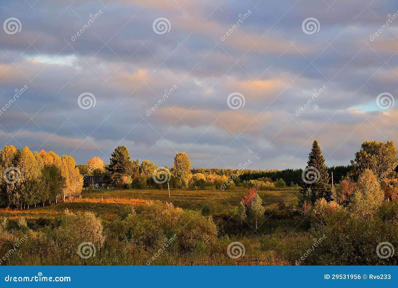 Paisagem do outono no por do sol