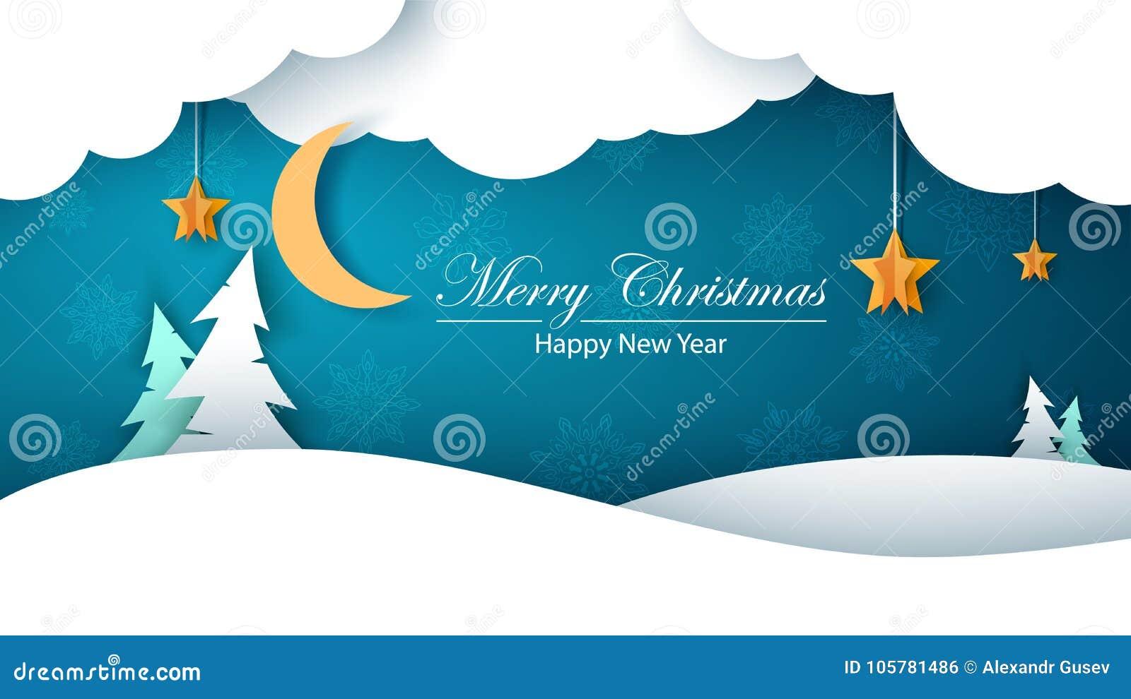 Paisagem do papel dos desenhos animados do inverno Abeto, lua, nuvem, estrela, neve Christmass alegre Ano novo feliz
