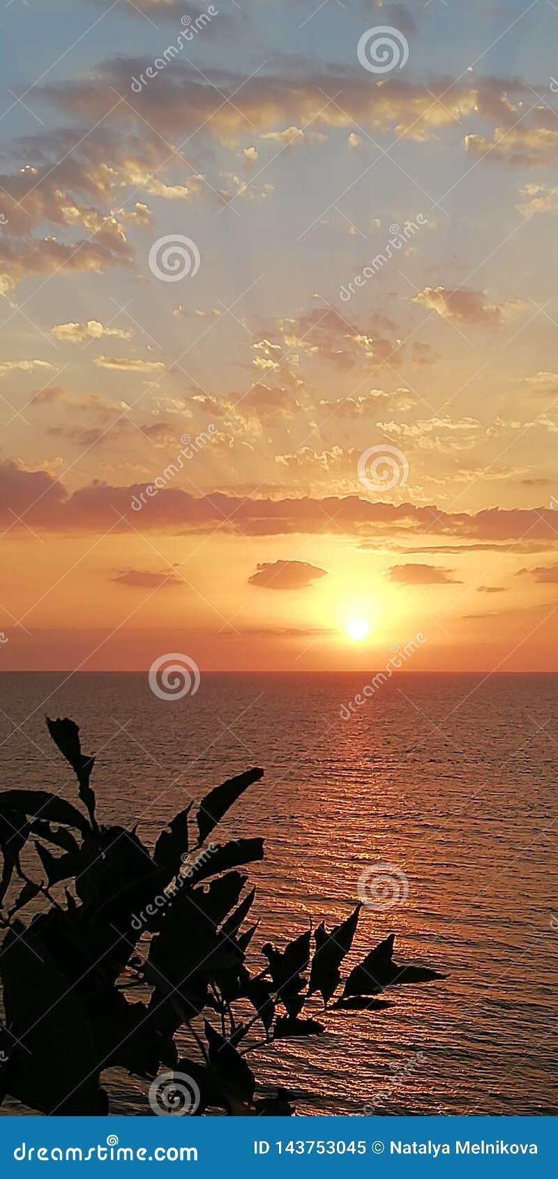 Paisagem do por do sol do mar Os raios do sol de ajuste perfuram as nuvens