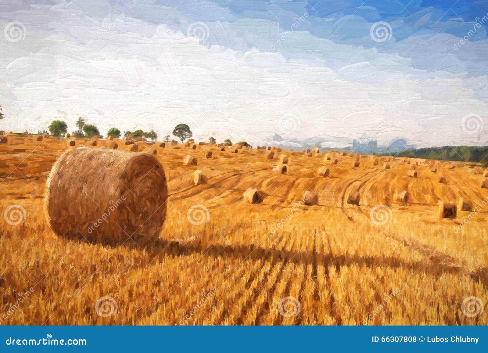 Paisagem do verão da pintura a óleo - pacotes de feno no campo após a colheita