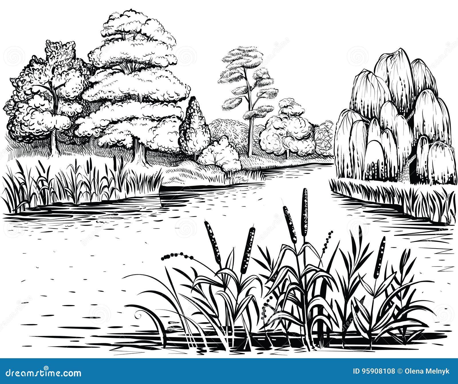 Paisagem Do Vetor Do Rio Com Arvores E Estacoes De Tratamento De