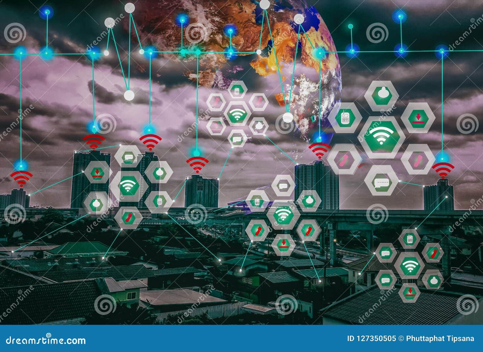 Paisagem esperta da cidade, Internet médio e sem fio do mundo de IOT do wor moderno futuro da conveniência do conceito da rede de