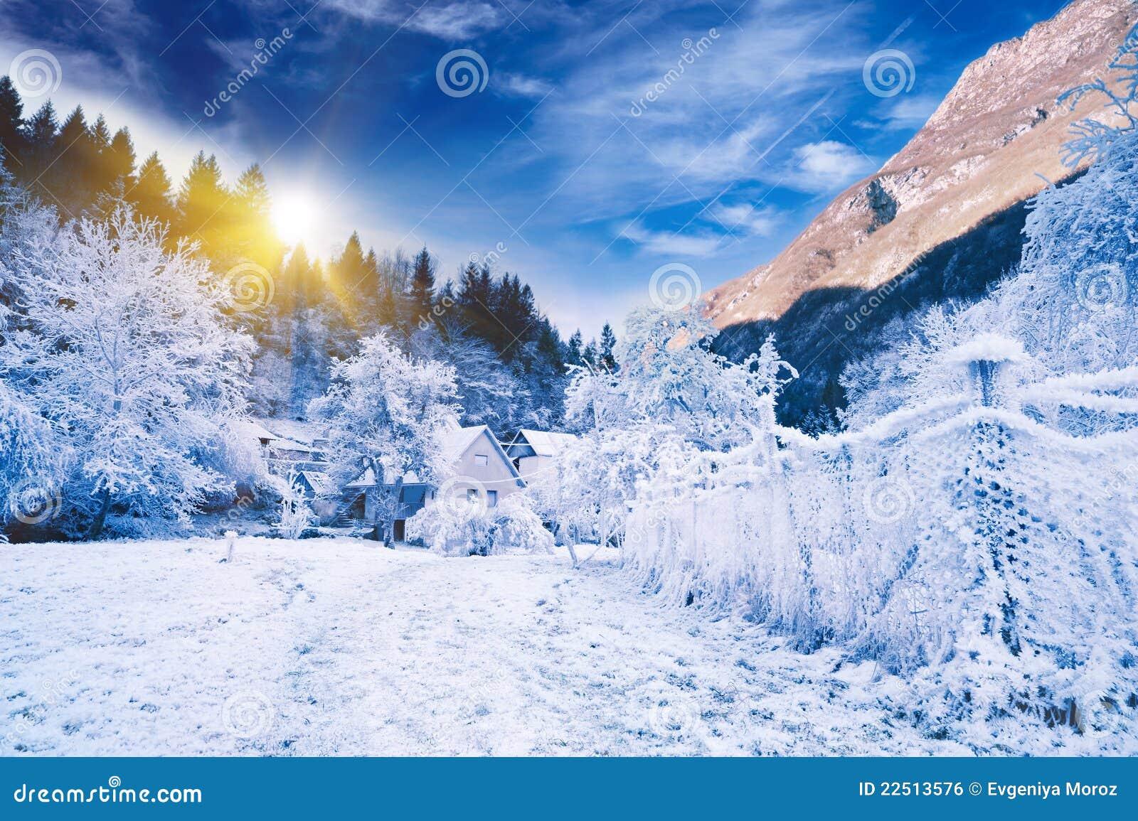 Paisagem idílico do inverno. Slovenia alpino