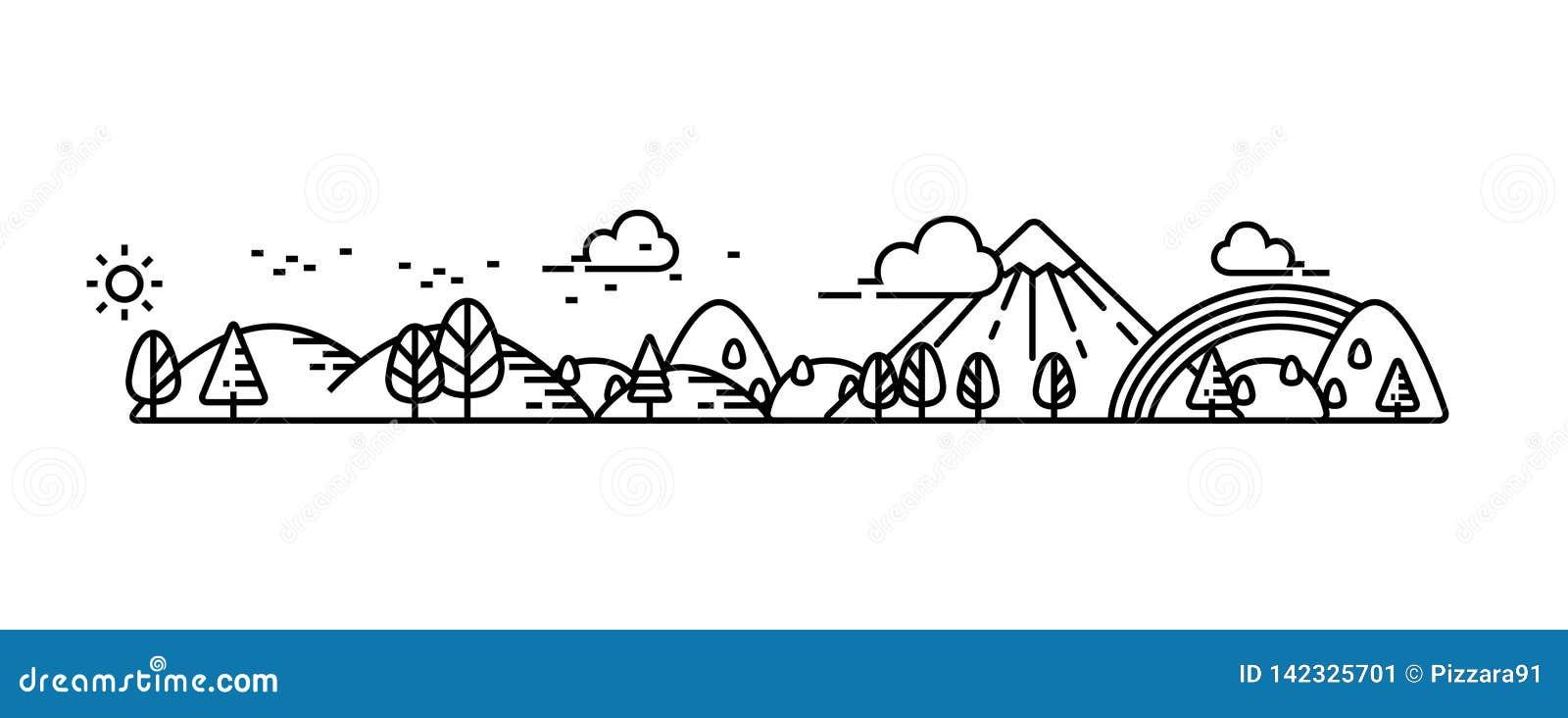 A paisagem ilustra a linha