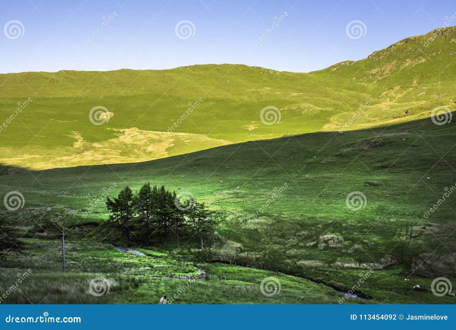 Paisagem impressionante do parque nacional do distrito do lago, Cumbria, Reino Unido
