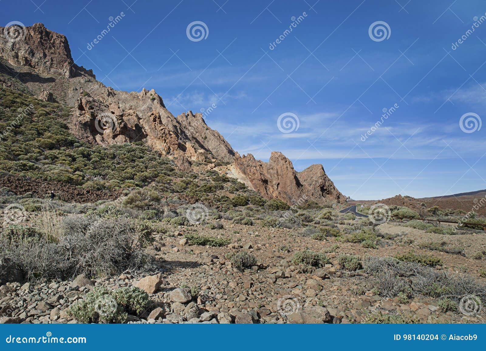 Paisagem incomum do parque nacional Las Canadas del Teide, Tenerife, Ilhas Canárias, Espanha