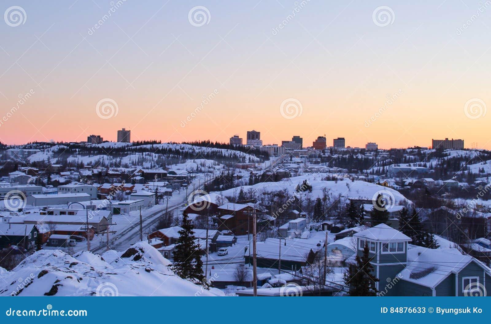 Paisagem invernal de Yellowknife