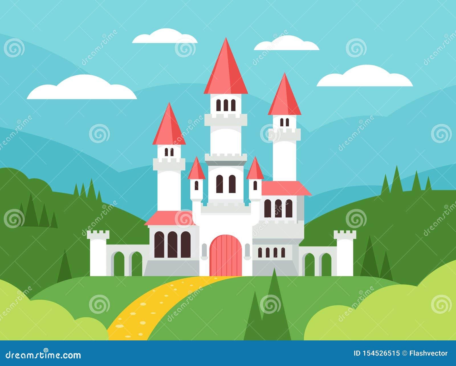 Paisagem lisa dos desenhos animados do conto de fadas com castelo Palácio bonito com torres, casa feericamente da fantasia da fan