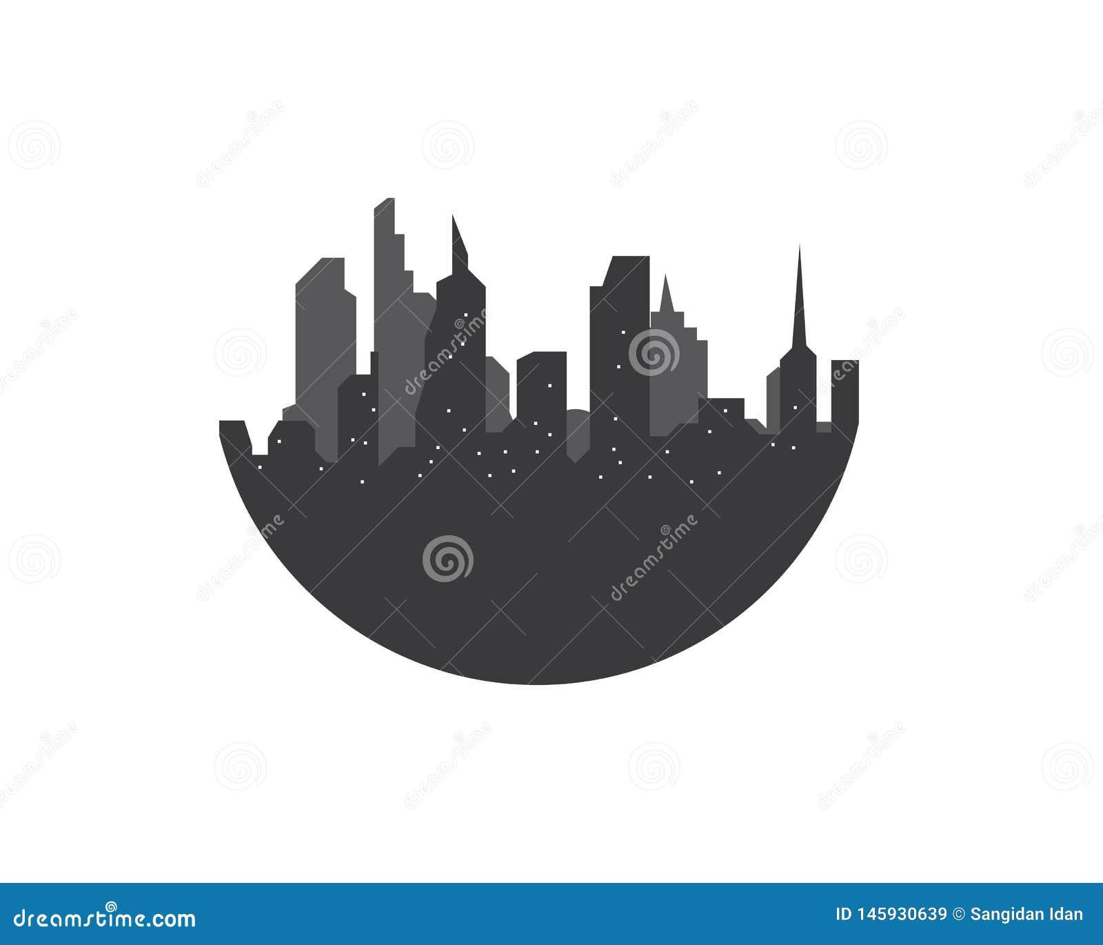 Paisagem moderna do vetor da skyline da cidade
