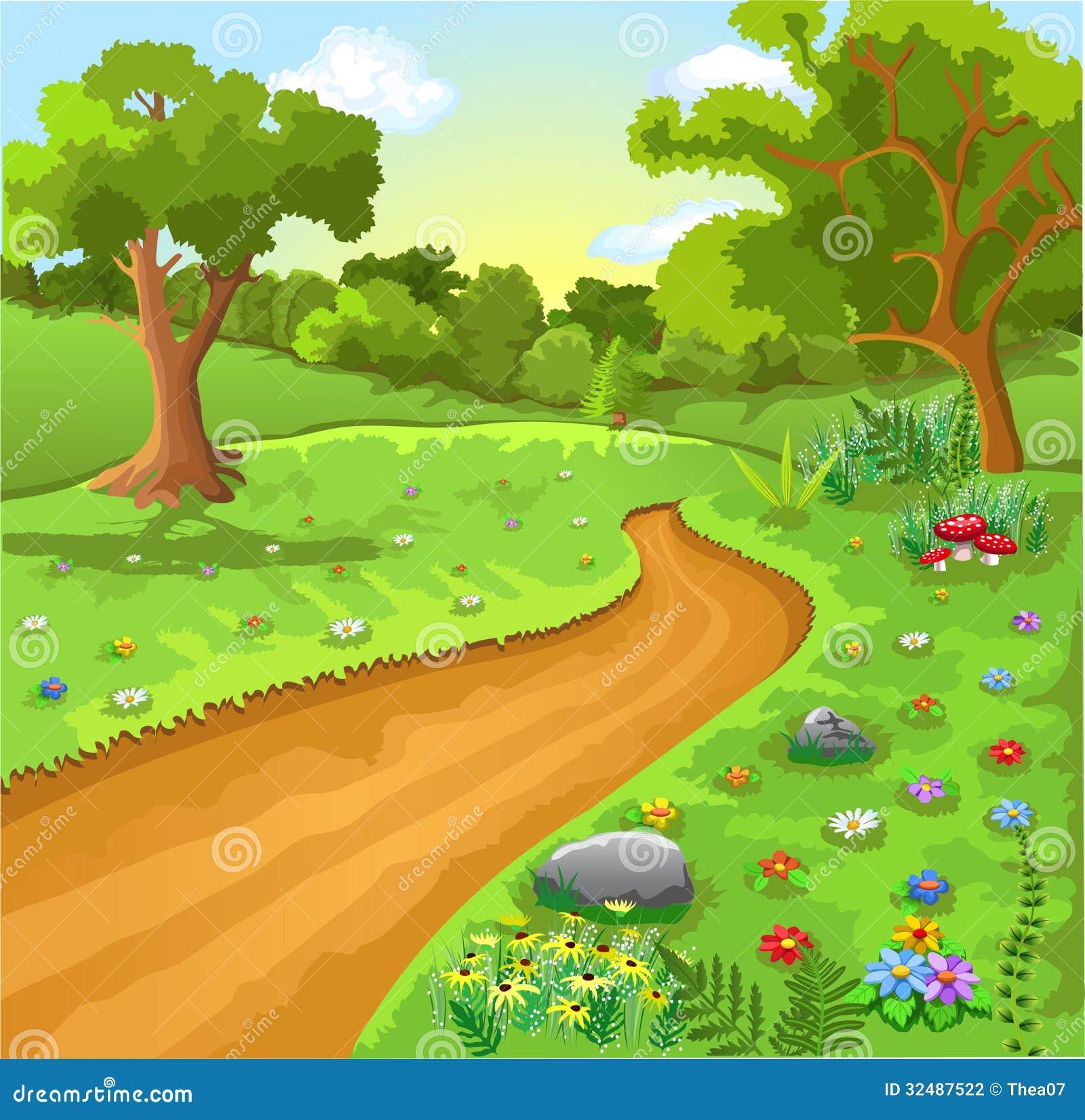 Paisagem Natural Dos Desenhos Animados Ilustracao Do Vetor
