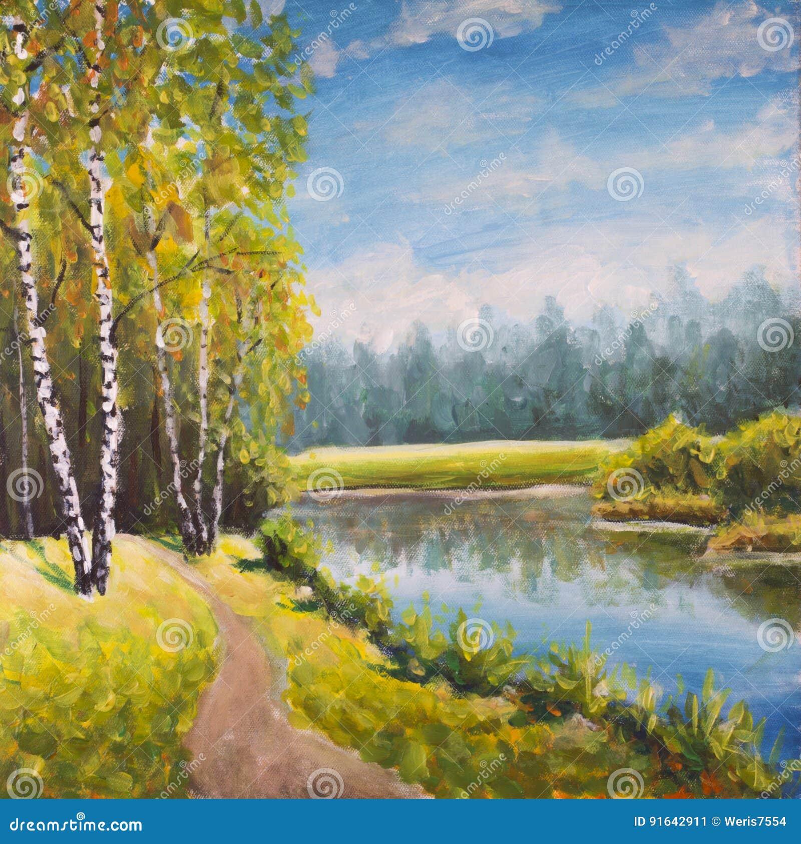Paisagem original do verão da pintura a óleo, natureza ensolarada na lona Floresta distante bonita, paisagem rural da paisagem Im